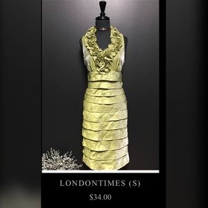London Times Formal Lime Green Dress, US Size 4